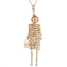Wholesale Crystal Doll Necklace - whole saleTrendy womens pendants necklaces Christmas gift 2017 crystal rhinestone female necklace doll french paris tassel long choker