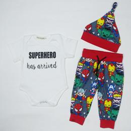 Wholesale 12 month onesie - Newborn 2017 Superhero Has Arrived Tiny Cottons Baby Boy Girl Clothes Infant Toddler Bodysuit Short Sleeve 3pcs Set Baby Onesie
