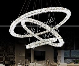 Wholesale Diamond Semi Mountings - 2017 Hot Selling Hot sale Crystal Diamond Ring LED Crystal Chandelier Light Modern Crystal Pendant Lamp 3 Circles different size position