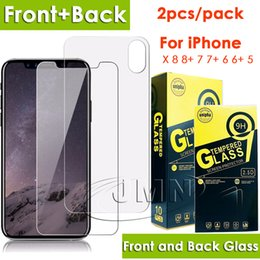Wholesale Wholesale Back Packs - Front and back tempered glass phone screen protector for iphone x and for iphone 8 7 6 Plus 2pcs glass film in one pack