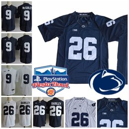 Wholesale Fiesta Yellow - BIG ten Penn State Nittany Lions #26 Saquon Barkley 9 Trace McSorley White Navy Blue No Name College Football Stitched Fiesta Bowl Jerseys