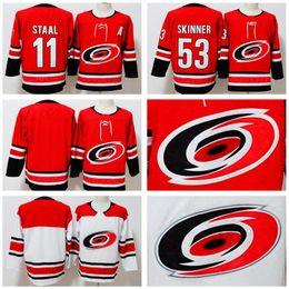 Carolina Hurricanes Jerseys Hockey 53 Jeff Skinner Jersey 11 Staal 14  Justin Williams Andrei Svechnikov Red White Stitch Embroidery Good Men 26dcbfcb5