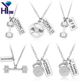 Wholesale Kettlebell Jewelry - whole saleFitness Gym Necklace Dumbbell Necklace Pendant Jewelry Body Building Necklaces Men Women Sport Kettlebell Barbell Dumbbell Gift