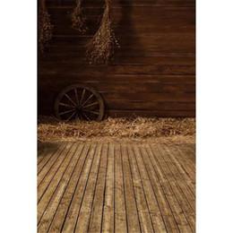 Wholesale vintage photography backgrounds - Vintage Brown Wooden Wall Indoor Photography Backdrop Vinyl Printed Straw Wheel Kids Pet Photo Studio Backgrounds Wood Floor