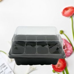 Wholesale nursery trays wholesale - 12 Holes Seedling Plate Water Saving Drought Resistant Seeds Growing Tray Square Plastic Nursery Pots Top Quality 2 45hh B