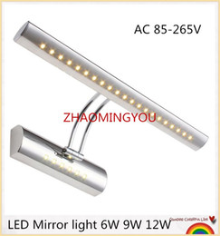 Wholesale Remote Ac Wall Switch - YOU 10PCS LED Mirror light 6W 9W 12W 40 55 70cm AC 85-265V stainless steel bathroom Wall lamps wall sconces lighting with switch