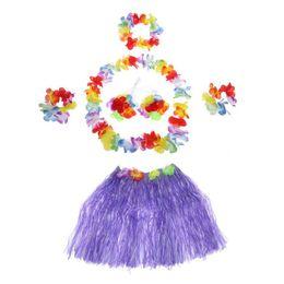2019 traje hawaiano de hula Juego de faldas hawaianas de hula para niños Nuevo Juego de faldas hawaianas de baile Conjunto de faldas hawaianas de hula-hula Traje de carnaval morado traje hawaiano de hula baratos