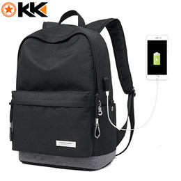 Wholesale Phone Carriers - KAKA Male Laptop Backpack for Men USB Design Women Travel Backpacks Carrier Student School Bags for Teenagers Black Mochila 2199