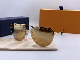 Wholesale Rivets Fashion - New fashion designer sunglasses 0984 frameless irregular frame with rivets popular avant-garde style top quality uv400 protection eyewear