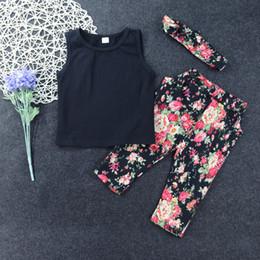 Wholesale Floral Vest Outfits - Summer Baby Girls Clothing Set 3PCS Vest+Floral Pants+Headband 3 pcs Floral Outfits Clothes Set 5 s l