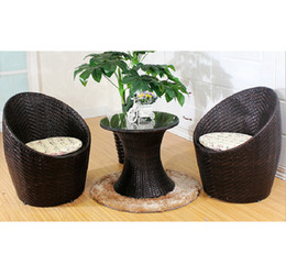 Wholesale Wicker Rattan Outdoor - Patio Rattan Outdoor Garden Furniture Set of 3PCS Wicker Chairs With Table
