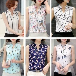 Wholesale Ladies Blouses Wholesalers - Summer Sleeveless Blouses For Women V-Neck Floral Stripes Geometric Print Slim Work Formal Shirt Fashion Ladies Casual Tee Shirt JCG1105