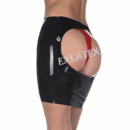 zócalo de goma Rebajas Falda de látex Falda de cuero para mujeres Falda de látex de caucho abierta Mini bolígrafo de equipo