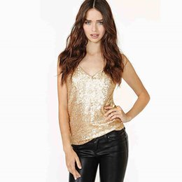 Wholesale Sequin Camisoles - 2018 Metallic Sequin Dual V Neck Top Sexy Tops for Women Silver Strap Summer Top for Woman camisole Z025