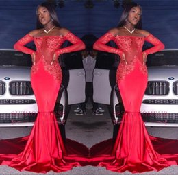 Wholesale women long evening silk dress - Red Lace Mermaid African Prom Party Dresses Sexy Off Shoulder Long Sleeves Evening Dresses Cheap Women Plus Size Gowns