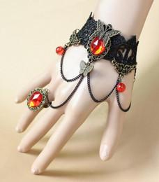 2019 brasilianer armbänder heiße neue Galatea südamerikanischen brasilianischen Stil Gothic Retro schwarze Spitze Schmetterling-Lady Armband mit Ring integral Kette Mode klassischen eleg günstig brasilianer armbänder
