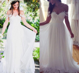 Wholesale White Flowy Dresses - Lace Off-shoulder Beach Wedding Dresses 2018 Modest Simple Flowy Chiffon Skirt Full length Summer Holiday Boho Beach Country Bridal Dress
