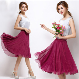 Wholesale Beige Lace Skirt - High Elastic Waist Pleated A Line Midi Skirt Adult Tulle Skirts Womens Summer Style Black White Pink Red Grey Purple