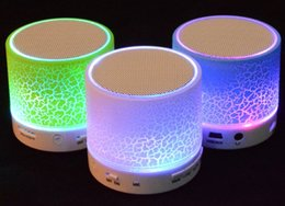 Wholesale flash player mp3 - Wireless Speaker Bluetooth Mini Speakers A9 Led Colored Flash Speaker FM Radio TF Card USB For iPhone X 8 Mobile Phone PC S8