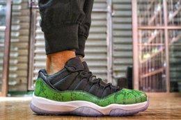 Wholesale Snake Skin Men Shoes - ( Real Carbon Fiber)2017 Air Retro 11 Low Black Green Blue Snake Skin Outdoor Sports Sneaker Retro 11 Mens Basketball Shoes Sneaker