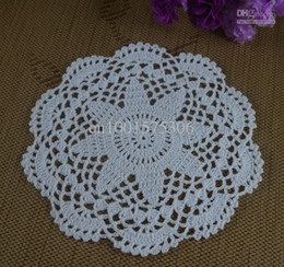Wholesale Hand Crochet Tablecloths - Free Shipping 100% cotton Crochet Doily hand made tablecloths Crochet cup mat 20-22CM White Cream Pink 20pcs LOT aa22..