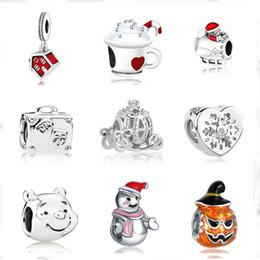 MOQ europeo 20 unids regalo de navidad casa taza muñeco de nieve diy perla fit Pandora encantos de plata 925 Pulsera joyería para mujeres F010 desde fabricantes