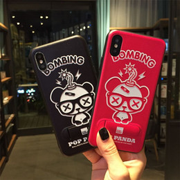 Wholesale Panda Phone Case Iphone - High Quality Luxury Hidden Bracket Housing Back Cover Cartoon Panda Pattern Kickstand Phone Case for iPhone X 6 7 8 Plus