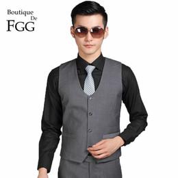 Boutique De FGG Cina SizeS-3XL Colore grigio scuro uomini vestito formale gilet per la festa nuziale sposo gilet Chaleco Hombre Boda supplier suit color for dark men da colore del vestito per gli uomini scuri fornitori