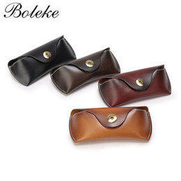 Wholesale Genuine Handmade Leather Belts - Women Vintage Handmade Cow Genuine Leather Eyeglass Case Vegetable Tanned Eyewear Sunglasses Box Belt Loop Waist Pack Q015