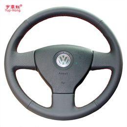 tampa do volante do vw Desconto Yuji-hong volante de carro cobre caso para volkswagen vw bora polo touran magotan 2006-2011 couro artificial costurado à mão