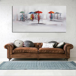 Wholesale raining wall painting - Handpainted Landscape Oil Painting On Canvas Palette Knife Wall Picture Lovers in the Rain picture Home Decoration Wall Decor