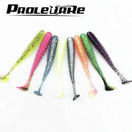 Pcs pesca online-10 Unids / lote Artificial Paddle Tail 5.7cm 0.85g Grubs Suave Brillo en Dark T Tail Lure Jig señuelo suave para la pesca de graves YR-398