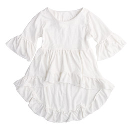 Wholesale Dress Frills - Summer 2017 Baby Girl Dress Frills Flare Sleeve Top irregular Party Ruffles Pure White Color Dresses