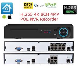 Grabadora de video en red online-48V H.265 8CH 4MP 4K POE NVR Sistema de CCTV 8CH Onvif P2P Video Recorder de red para IP Security Cámara de vigilancia hdmi 4k de salida
