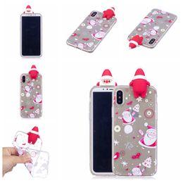natal iphone santa Desconto Xmas 3d toy santa case para iphone xs max xr 5 s 8 8 mais huawei mate20 lite p smart samsung note9 s9 diy telefone case natal macio coque