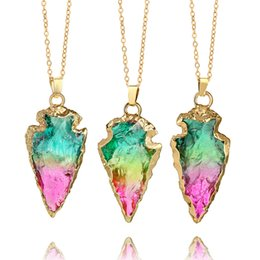 Wholesale Jade Stone Necklaces - Natural Jade Stone Pendant Colorful Necklace Women Jewelry Delicate Arrow Shape Fashion Gift New European American Chain Ornaments 12yg XW