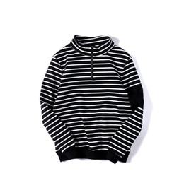 Wholesale Organic Sweatshirts - Stripe turtleneck embroidery high street mens hoodies pullover skateboard hip hop street wear men hoodies sweatshirts hipster women D25