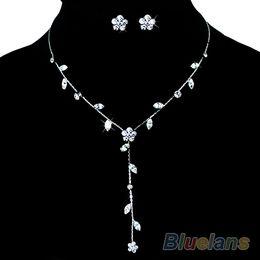 Discount rhinestone bridesmaids jewelry sets - Bridesmaid Wedding Flower Rhinestone Necklace Set 00CB