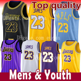 2018-2019 New Season Men Youth Kids 23 LeBron James Jersey Los Angeles Lakers 77 Luka Doncic James 2 Ball the city Basketball Jersey