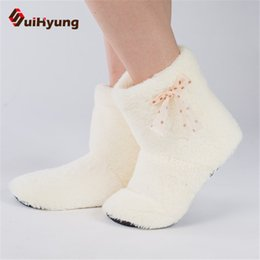 Wholesale Cute Warm Boots Women - New Women's High-top Shoes Thick Plush Warm Indoor Shoes Non - slip Soft Bottom Indoor Boots Cute Bow Home Floor