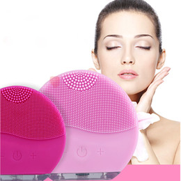 Wholesale Electric Face Brushes - Electric Face Cleanser Vibrate Pore Clean Soft Silicone Cleansing Brush Massager Facial Vibration Skin Care Spa Massage