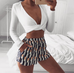 Wholesale Couture Hoodie - White Long Sleeved T-shirt Straps Cross Deep V Sexy Couture Women Hoodie Spring Autumn Sexy Tee Tops