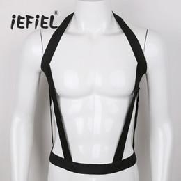 2019 capuz zentai IEFiEL Homens Lingerie Nylon Halter Elastic Peito Harness Bondage Oco Out Costumes Cinto para o Desempenho Do Partido Discoteca