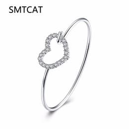 c60ddb3e52d7f SMTCAT Assez Creux Amour Coeur Conception Argent Femmes Filles Bracelet  Bracelets Avec Brillant Cubique Zircone Cristal Prix de Gros peu coûteux  bracelet ...