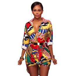 Wholesale Champagne Lanterns - Fashion Gold Chain Pineapple Floral Print Vintage Shirt Dress Turn Down Collar Long Sleeve Casual Mini Dresses Women Sexy Blouse
