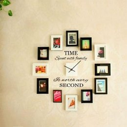 Wholesale home decor sticker wall clock - 2017 Fashion TIME SPENT WITH FAMILY Wall Art Decal Quote wall stickers DIY Murals home decor Clock Decoration