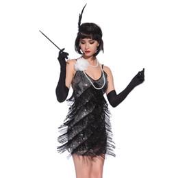 fringe kleid tanz kostüm Rabatt Roaring 1920er Jahre Flapper Kleid Kostüme Great Gatsby Partykleid V-Ausschnitt Backless Spaghetti Strap Fringe Mini Dance