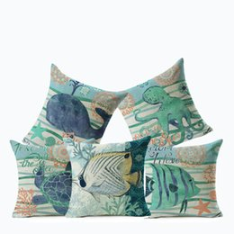 Wholesale Cushion Starfish - Marine Home Decor Decorative Pillow Case(cushion cover) On Couch Starfish Whale Home Decorative Pillowcase for Sofa
