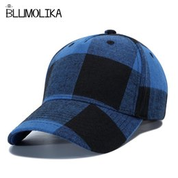 d489523a112 New Spring Baseball Caps Hat for Men Women Red Plaid Baseball Cap Adjustable  Winter Cotton Hats Blue White Plaid Snapback Caps