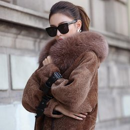 Wholesale Real Bats - Wholesale-Real Sheepskin Shearling Coat for Women Genuine Leather Bat Sleeve Real Fur Coat with Fox Fur Brim dx0005